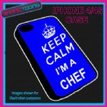 FITS IPHONE 4 / 4S PHONE KEEP CALM IM A  CHEF COOK PLASTIC COVER COOL GIFT BLUE